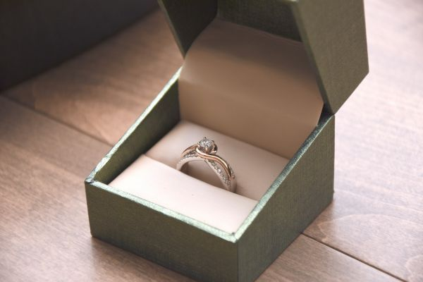 Engagement ring in an open box