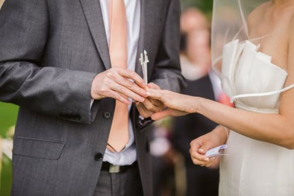 Groom places a ring on bride's finger